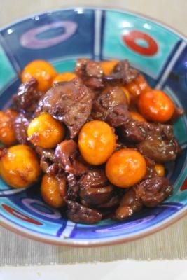 黒酢しょうが de たっぷりきんかんのオリジナル鳥もつ煮2