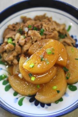 大根と豚肉の甘辛黒酢しょうが煮2