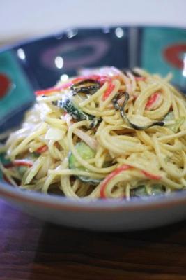 塩昆布で和風スパゲティサラダ1