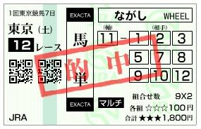 【的中馬券】2800220東京12_2(競馬 3連単 万馬券)