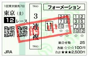 【的中馬券】2800220東京12_1(競馬 3連単 万馬券)