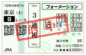 【的中馬券】2800220東京8_2(競馬 3連単 万馬券)