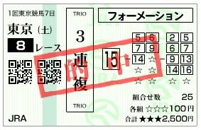 【的中馬券】2800220東京8_1(競馬 3連単 万馬券)