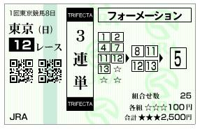 【馬券】2800221東京12(競馬 3連単 万馬券)