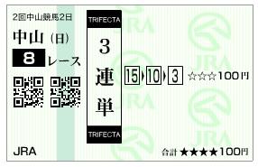 【馬券】2800228中山8_1(競馬 3連単 万馬券)