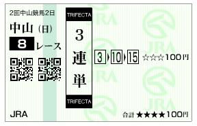 【馬券】2800228中山8_2(競馬 3連単 万馬券)