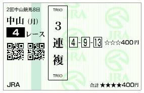 【馬券】280321中山4(競馬 60倍 的中)