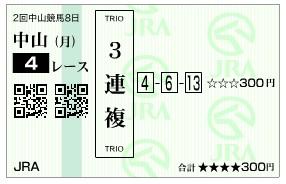 【馬券】280321中山4_2(競馬 60倍 的中)
