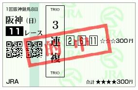 【的中馬券】280320阪神大賞典(競馬 60倍 的中)