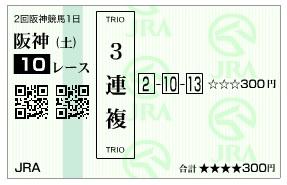 【馬券】280326阪神10(競馬 60倍 的中)
