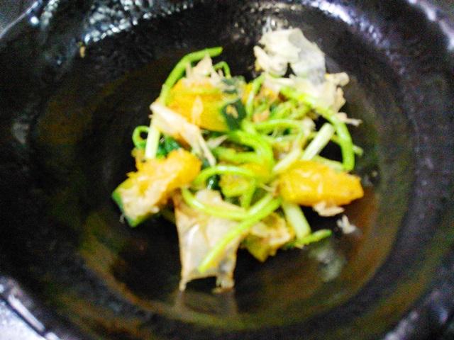 三つ葉とカボチャのサラダ