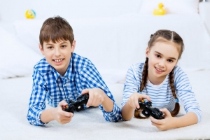 Playing video games children