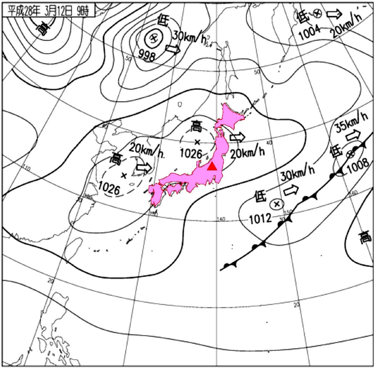 3月12日09時の天気図