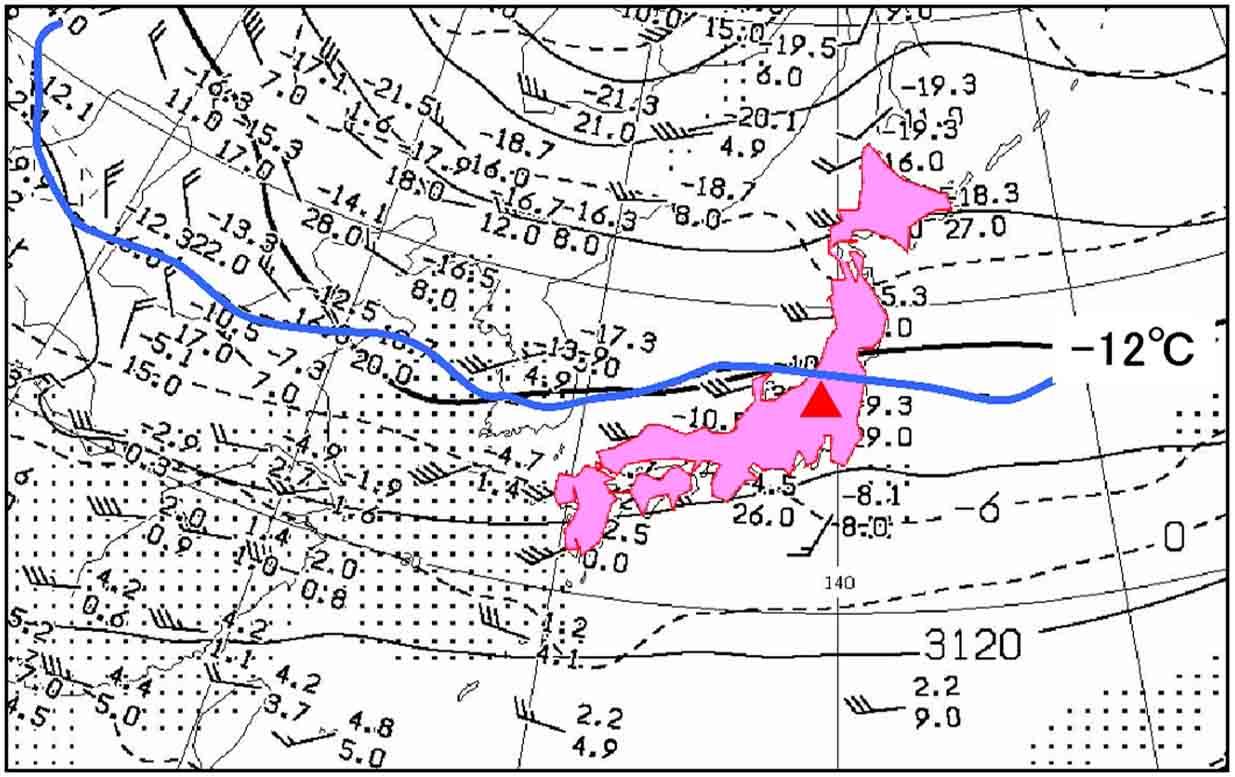 3月12日の上空気圧配置と寒気 700hP