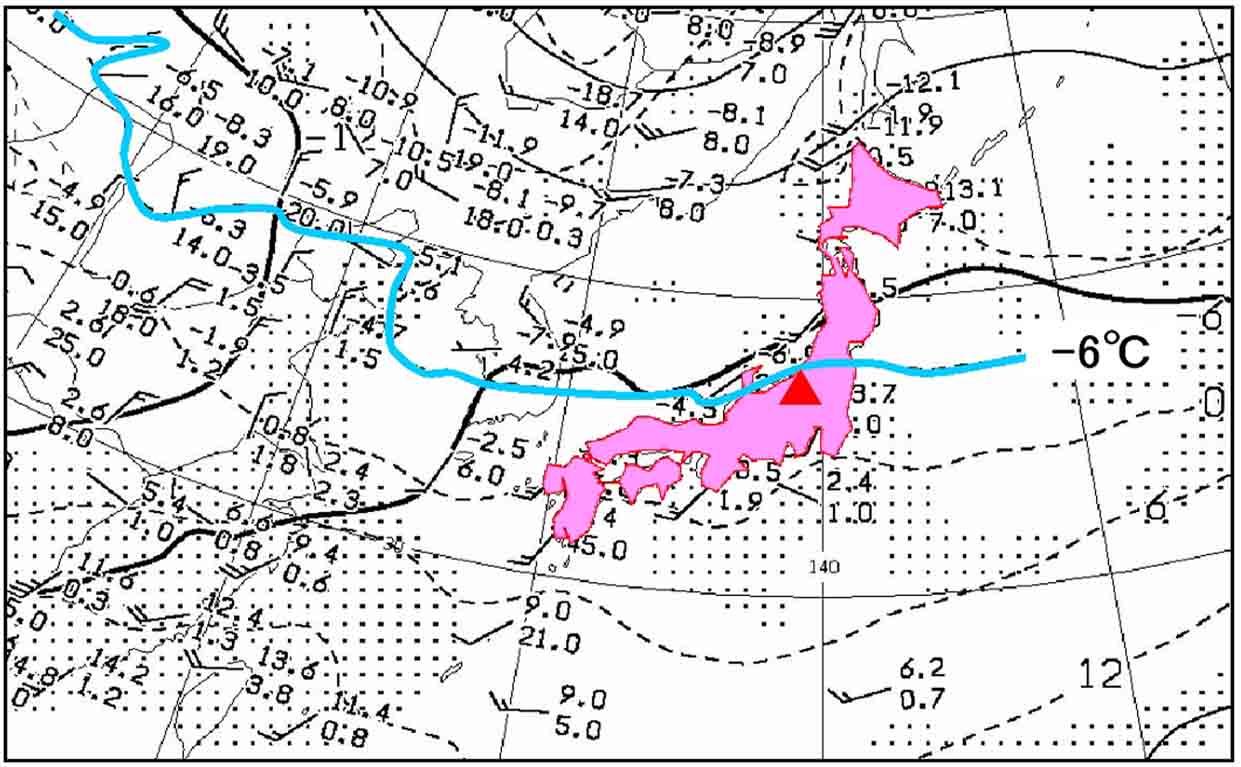 3月12日の上空気圧配置と寒気 850hP