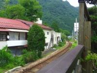 湯野上温泉清水屋旅館10露天風呂から会津鉄道