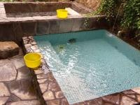 湯野上温泉清水屋旅館11露天風呂滝の湯・砂利湯