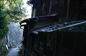 屋根に乗った福石猫