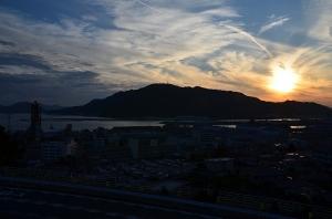 三原で見た夕日