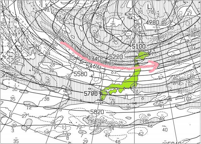 500hPa高度・渦度天気図