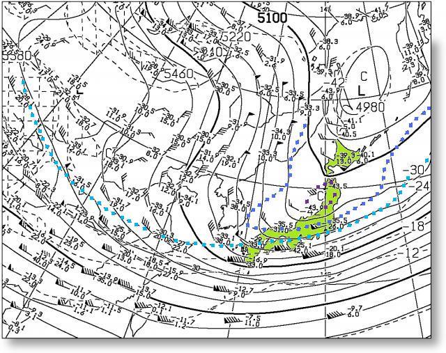 20165年1月24日21時 500hPa面の高度と気温