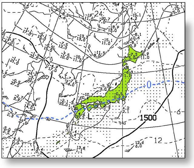 2016年3月14日09時の850hPa面の気温