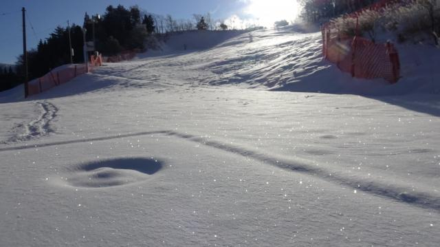 朝日を受けて雪面がまぶしい