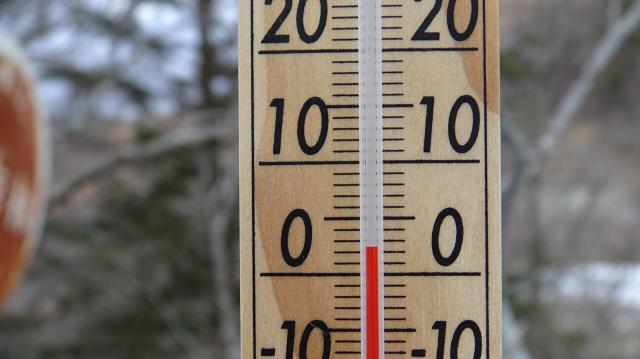 見ノ越で07時に気温は2度か3度だ