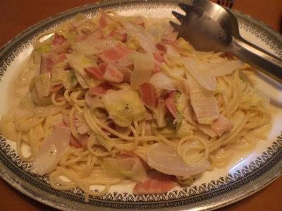 3.25白菜とベーコンのパスタ