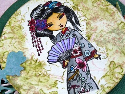 Little Darlings Dollhouse Rubber Stamp - Geisha