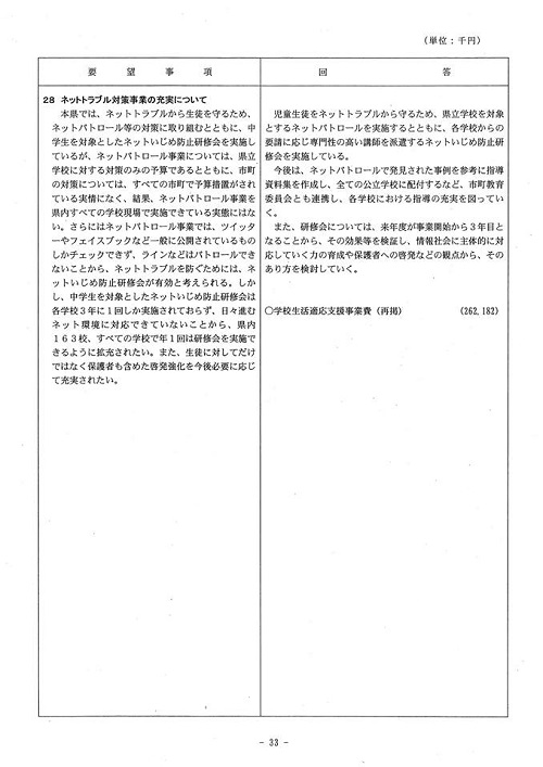 <民主党・無所属クラブ>当初予算・政策要望に対する知事回答!34