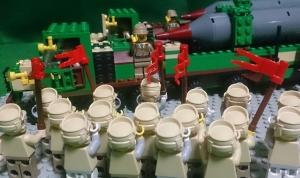 奇跡星号の完成を祝う兵士たち