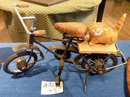 木工展 自転車に猫乗せて