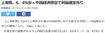 news上海株、6.4%安=中国経済懸念で利益確定売り