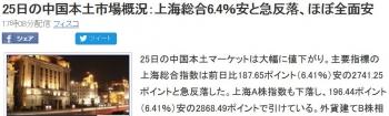 news25日の中国本土市場概況:上海総合6.4%安と急反落、ほぼ全面安