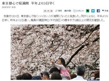 news東京都心で桜満開 平年より3日早く