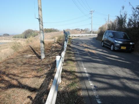 h県道に覆いかぶさる立木⑧田島地区
