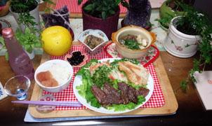 晩御飯 小鍋・牛鶏 煮物 文旦