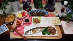 晩御飯 アジ・焼肉・サラダ盛盛