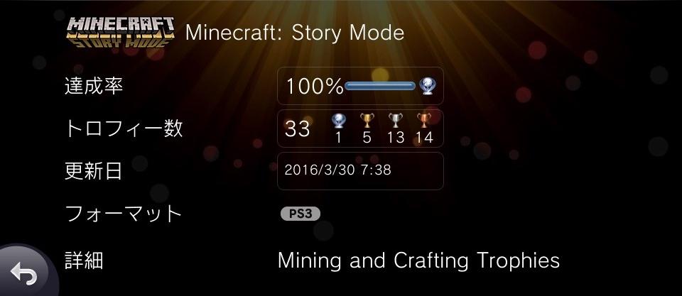 自称トロフィーハンターによるブログ minecraft story mode プラチナ