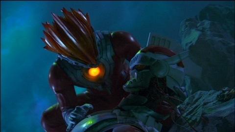 力尽きたジャンボットを抱き上げるグレンファイヤー