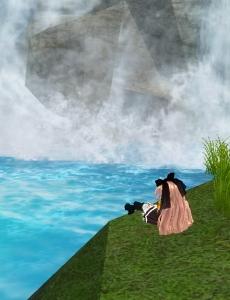 滝壺でユニ