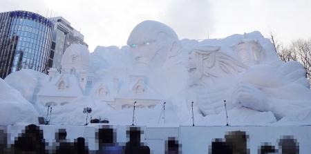 大雪像 進撃の巨人、サッポロ襲来!