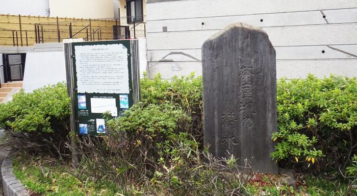 茶屋坂湧水の碑