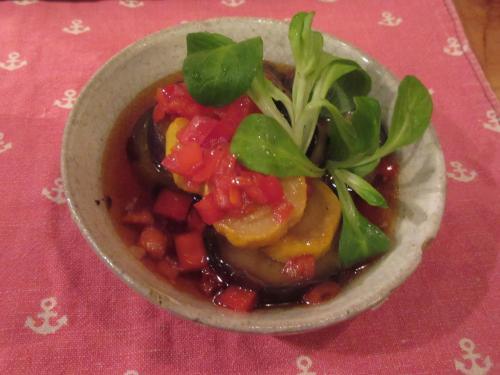 茄子と黄ズッキーニの香味ソース