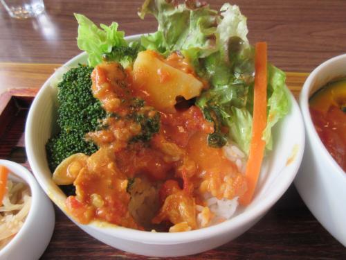 蒸し野菜の下にご飯でカレーかけた