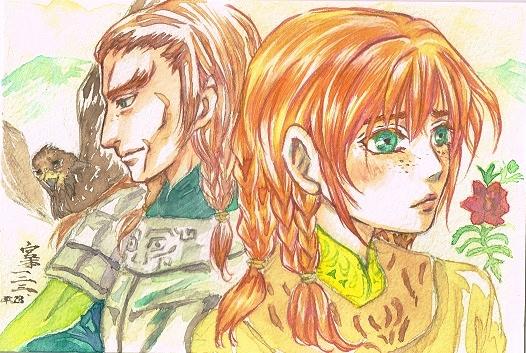 「鷲と花」。イドゥルグ(左)とトーラエ(右)兄妹絵。「龍龍」の青髪兄妹とはだいぶ温度差のある二人です。そういう雰囲気がでていればいいのですが。