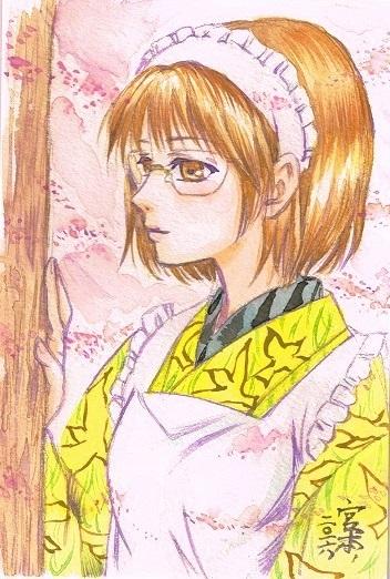 「ゆかしき花の香」着物の模様のモチーフはわかる人にわかればいいや、というなげやりな感じで描いております。
