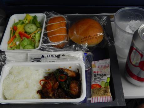 シンガポール2016.1デルタ航空シンガポール行・機内食