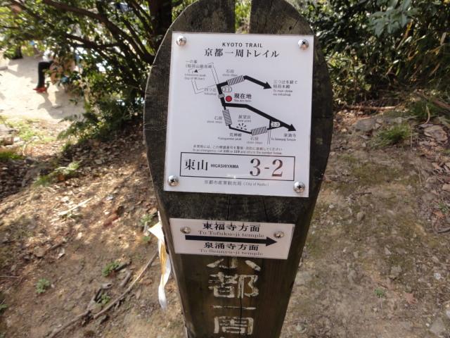 2016年2月28日 東山トレイルの標識